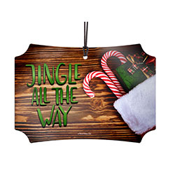 Candy canes, a stocking full of presents, and lyrics that make you want to go caroling. This hanging metal decoration features a realistic wooden background that looks great with any décor, making it the perfect addition to your own tree