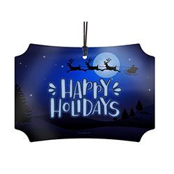 This hanging metal decoration features a poppy Holiday font against a backdrop of a wintery Christmas Eve night. Santa and reindeer fly in front of the moon on their way across the globe. This image is fused directly onto the metal decoration.