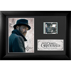 This Filmcells™ Special Edition Presentation features Jude Law as a young Albus Dumbledore as seen in Fantastic Beasts: The Crimes of Grindelwald.  Included is a high-quality image framed with an easel back. Clear acrylic backing allows light.
