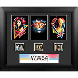 "The showdown between Wonder Woman and Cheetah is coming soon! Featuring three images that include the badass woman with retro graphics, this 11"" x 13"" framed FilmCell presentation includes 3 clips from the movie's reel."