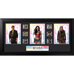"Wonder Woman, Steve Trevor and Barbara Minerva AKA Cheetah are on display on this 20"" x 11"" FilmCell presentation along with six unique, hand cut frames from the movie's film reel."