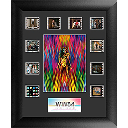 "Surrounding the vivid image of Wonder Woman posing  for the camera are ten 35 mm carefully handcut film clips from the film reel of Wonder Woman 1984 on this 11"" x 13"" Mini Montage FilmCell presentation."