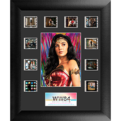 "Surrounding the vivid image of Wonder Woman in front of a rainbow colored backsplash are ten 35 mm handcut film clips on this 11"" x 13"" Mini Montage FilmCells presentation."