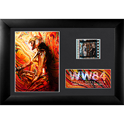 "Featuring Wonder Woman dressed in her hold armor in front of a bright colored background, this 7"" x 5"" collectible item also holds one 35 mm carefully handcut film clip from the film reel of Wonder Woman 1984."