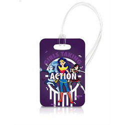 A fun new look at DC's super heroes.  Super Girls, Katana, Wonder Woman, and Frost are ready to protect your baggage on this officially licensed, super vivid luggage tag.  Travel in style with our officially licensed, extraordinarily durable luggage tag