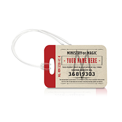 Personalize with your name!  Don't forget your visitor's tag when you head to the Ministry of Magic. What are you doing there? Be careful.  Travel in style with our officially licensed, extraordinarily durable luggage tags.