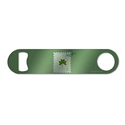 "Featuring a beautiful hand-drawn stamp, this 7"" x 1.5"" metal bar blade has many ties back to St. Paddy's Day with the green art, clover, $0.17 cost and the postage date of March 17th – perfect for any St. Patrick's Day lover!"