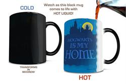 No matter where you are, you always know that Hogwarts is your home. Show off your magical home with this Morphing Mugs® Heat-Sensitive drinkware, complete with new wizards making their way across the lake to Hogwarts Castle.