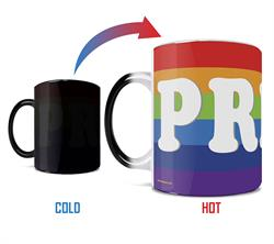"June is known as Pride Month. Show your support of the LGBTQ+ community with this 11 oz color changing ceramic mug that features the word ""PRIDE""."