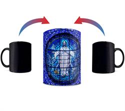 Featuring a stained glass style mosaic artwork, Jesus appears with His arms wide open once hot liquid is poured into the mug. The exterior of this officially licensed 11oz mug transforms from black as hot liquid is added, revealing the hidden image