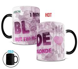 "Here's a Morphing Mugs™ heat-sensitive for all the blondes out there who, like Arrow's Felicity Smoak, are ""blonde, but not that blonde."" The exterior of this 11oz Morphing Mug transforms from black as hot liquid is added!"