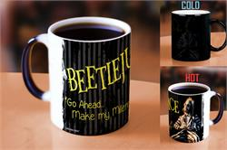 Go ahead … Make my Millennium.  Pour hot liquid into this officially licensed Beetlejuice Morphing Mugs® Heat-Sensitive Mug and it's … showtime!  Featuring Michael Keaton as the ghost with the most.