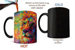 The majestic lion has vibrant colors added to it in this art by Blend Cota. The King of the Jungle looks stunning as you add your favorite hot liquid to the drinkware, letting the colors pop off the mug.