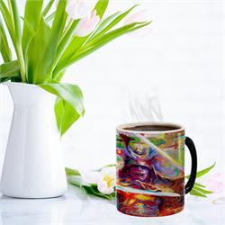 Protect your drink with this Samurai Warrior painting by Blend Cota. The warrior holds two swords with color blossoming when you add hot liquid to this drinkware.