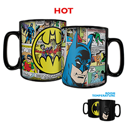 Batman sits next to his logo on this Morphing Mugs® color-changing drinkware. However, once you add in your favorite hot liquid you can see images of his appearance throughout the years on the mug.