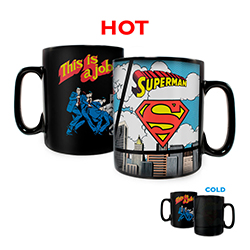 This is a job for … Superman! And coffee.     Pour hot liquid into this officially licensed DC Comics Morphing Mugs Heat-Sensitive Clue Mug and Clark Kent does a quick change into Superman!