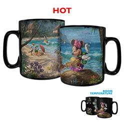 Mickey and Minnie Mouse are ready for the luau, are you? The famous Disney pair enjoy their time on the beach on this Clue Morphing Mug, featuring artwork by Thomas Kinkade Studios shown through Hawaiian flowers.