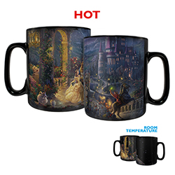 Belle and the Beast dance on the veranda on this Clue Morphing Mug, featuring artwork by Thomas Kinkade Studios. Add your favorite hot liquid to see the full image appear, showing Gaston, the villages, Beast's castle and more in this stunning artwork.