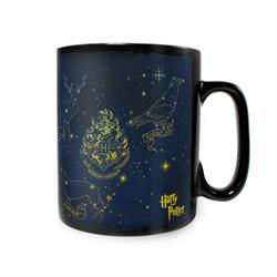 . Stars sit around the Hogwarts crest on this Clue Morphing Mug. However, once you add your favorite hot liquid you can see constellations featuring the Hogwarts house animals and other famous animals from the series.