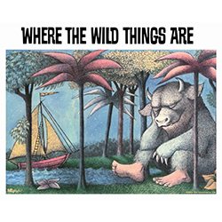 """Let this wild rumpus start"" with this 8"" x 10"" MightyPrint Wall Art! Where the Wild Things Are has been a well known children's book for years. Keep the traditional story alive for years to come with this sturdy home décor that features the cover art."
