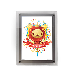 "This 10"" x 14"" MightyPrint Wall Art featuring a chibi-style Gryffindor lion mascot and crest is perfect for Harry Potter fans of all ages! Featuring an acrylic wall mount frame, your wall art will be presented  in a durable and modern display."