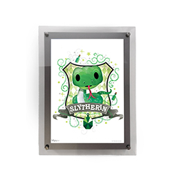 "This 10"" x 14"" MightyPrint Wall Art featuring a chibi-style Slytherin snake mascot and crest is perfect for Harry Potter fans of all ages! Featuring an acrylic wall mount frame, your wall art will be presented in a durable and modern display."