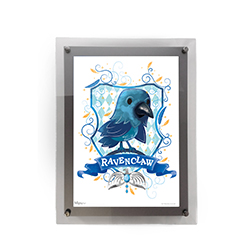 "This 10"" x 14"" MightyPrint Wall Art featuring a chibi-style Ravenclaw mascot and crest is perfect for Harry Potter fans of all ages! Featuring an acrylic wall mount frame, your wall art will be presented in a durable and modern display."