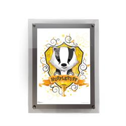 "This 10"" x 14"" MightyPrint Wall Art featuring a chibi-style Hufflepuff badger mascot and crest is perfect for Harry Potter fans of all ages! Featuring an acrylic wall mount frame, your wall art will be presented in a durable and modern display."