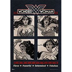 Bring the many qualities of Wonder Woman to your wall with this MightyPrint™ Wall Art. This state of the art, light diffusing print features an official DC Comics Originals collage design featuring Wonder Woman in four distinct poses.