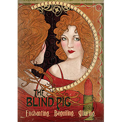 Join Tina and Newt, Queenie and Jacob at a dark-alley speakeasy, The Blind Pig.  Speak the password and order yourself giggle water from the house-elf behind the bar.   Art Deco meets the Wizarding World in this high-class MightyPrints™ wall art.