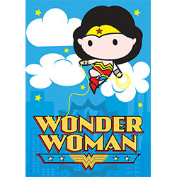 Take on the injustice of drab walls with a super bright, super vivid MightyPrint™ Wall Art featuring the mightiest of warriors, Wonder Woman. Her golden Lasso of Truth wraps around her classic logo. Even in adorable, cartoon-form, she still looks fierce