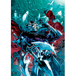 This extra strong, light-catching, tear-resistant MightyPrint™ Wall Art features a viewpoint that no one would want to find themselves in.  Aquaman's greatest foe Ocean Master's weapon gleams like the hate in his eyes. Also, sharks!