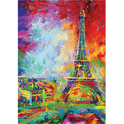 "Blend Cota brings the Eiffel Tower to life on this 17"" x 24"" MightyPrint Wall Art! Cota is known for his use of bright colors to create distinctive art that certainly stands out. Using his iconic vivid hues to bring light to the famous landmark."