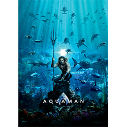 This ultra-strong, long-lasting paper-free MightyPrint™ Wall Art features Jason Momoa as Aquaman with Atlantis and friends behind him in the deep ocean waters.