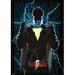 "This 17"" x 24"" Shazam! MightyPrint Wall Art features the hero along with blue lightning. Billy Batson's qualities are written behind him on this wall art."