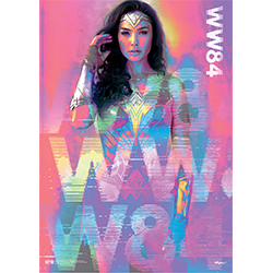 "Take a trip through time with Wonder Woman herself. This MightyPrint™ Wall Art features Gal Gadot as Wonder Woman with a neon pink background. ""WW84"" is also seen silhouetted over her. No matter what time era she's in, Wonder Woman will always be ready."