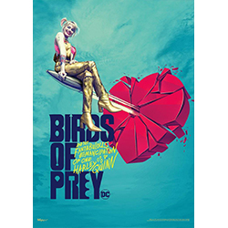 "Harley Quinn takes ""heart breaker"" to an entirely different level on this 17"" x 24"" wall art! The female heroine sits gracefully on a silver bullet as it cuts through the center of a heart. Just as the Birds of Prey are more than human, this is more than"
