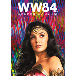 Gal Gadot is back as Diana Prince & ready to defeat evil in Wonder Woman 1984. The film is channeling all-things 80's, starting with a big focus on neon! Diana Prince is staring off into the distance in her Wonder Woman gear in front of a neon backsplash