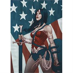 "Standing in front the American flag wielding the Sword of Athena and shield, this 17"" x 24"" MightyPrint Wall Art design of Wonder Woman shows the heroine in shades of red, white and blue to match the flag behind her."