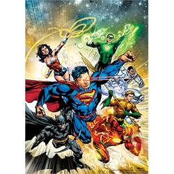 "This 17"" x 24"" MightyPrint Wall Art features cover art for Justice League #2. The seven original members of the Justice League are racing through the cosmos on this design variant cover art design."
