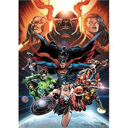 "This 17"" x 24"" MightyPrint Wall Art features cover art for Justice League #50. Your favorite Justice League characters are flying through space wielding their iconic weapons on this original design."