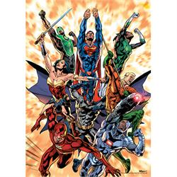 "This 17"" x 24"" MightyPrint Wall Art features cover art for DC Comics Rebirth. Your favorite Justice League members are racing through the skies as they escape a massive explosion on this unique variant cover art design."