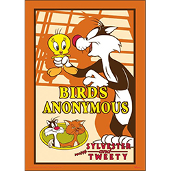 """Birds is for the birds!"" Tweety Bird and Sylvester star in Birds Anonymous, a 1957 animated Looney Tunes short. This 17"" x 24"" MightyPrint Wall Art represents Birds Anonymous by featuring Sylvester, Tweety Bird and the mild-mannered Clarence."