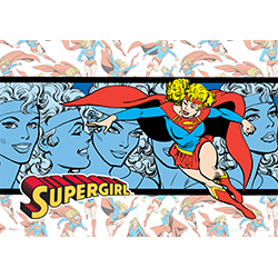 "This 24"" x 17"" MightyPrint Wall Art shows your favorite DCEU character in her traditional red, blue and golden uniform throughout the artwork. Supergirl soars in front of an artistic blue rendition of her many facial expressions in the center of this art."