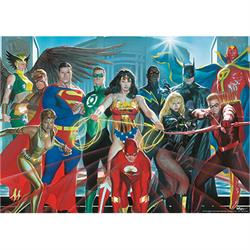 "This 24"" x 17"" MightyPrint Wall Art features many members of the Justice League on this Alex Ross design. Your favorite characters are wielding their iconic weapons on this original design."