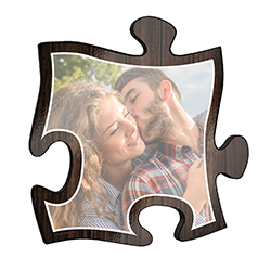 "Show off your favorite photos with unique wall décor! This rustic style 12"" x 12  puzzle piece wall art has a realistic printed wooden design and a large area to personalize with your favorite photo."