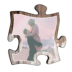 "This 12"" x 12"" wooden puzzle piece wall art has a large area to upload your favorite picture with a printed distressed wood design framed your image."
