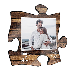 "This rustic style 12"" x 12"" wall décor has a realistic printed mixed wood design and areas to add your favorite photo and the names of you and your partner."