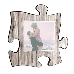 "This 12"" x 12"" printed white wood puzzle piece wall art has an area to upload your favorite picture."