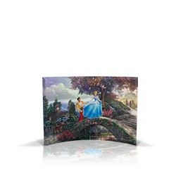 Bring the magic of Disney's Cinderella into your home with this StarFire Prints curved glass. It features Thomas Kinkade's panoramic painting, Cinderella Wishes Upon A Dream, done in the artist's instantly recognizable, luminous style.